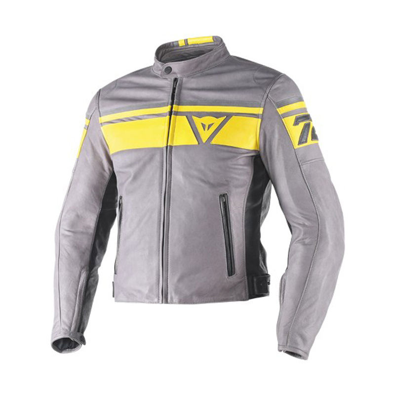 Dainese Blackjack Leather Jacket Grey Yel Bikeworld Ireland
