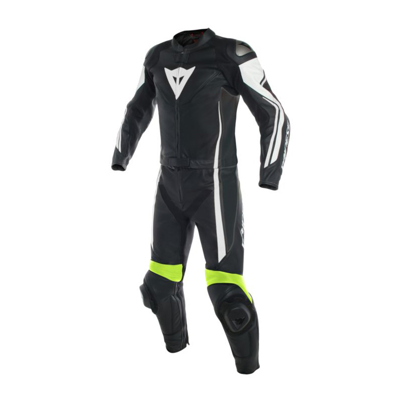 2d4827729de Dainese Assen 2-Piece Leather Suit Blk Wht Flo-Yellow - Bikeworld Ireland