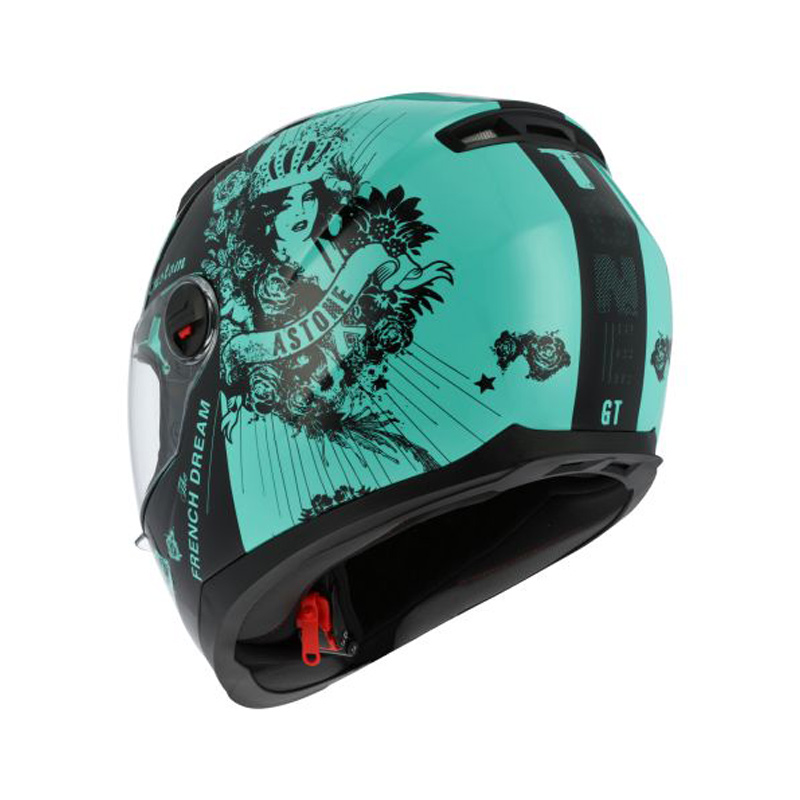 Astone Custom Lady Gt2 Helmet Black Mint Green Bikeworld